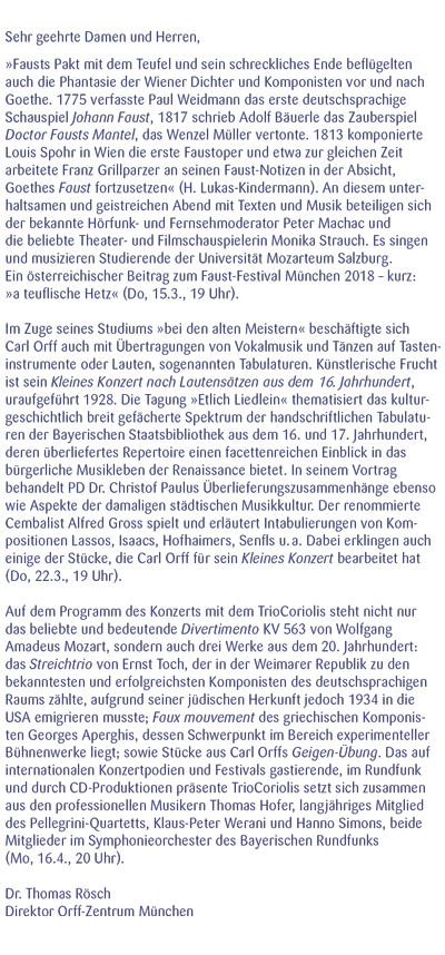 Orff-Zentrum München; Carl Orff; OZM; OZM Flyer 1/2018, Seite 2