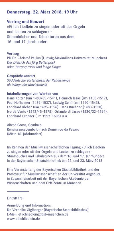 Orff-Zentrum München; Carl Orff; OZM; OZM Flyer 1/2018, Seite 4