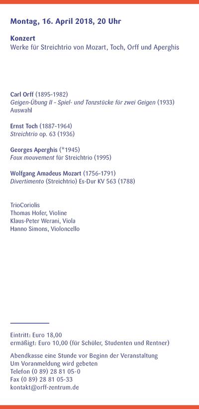 Orff-Zentrum München; Carl Orff; OZM; OZM Flyer 1/2018, Seite 5