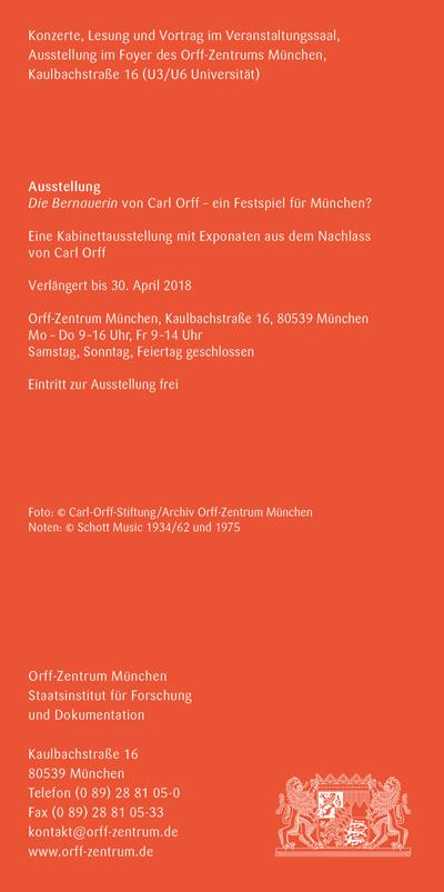 Orff-Zentrum München; Carl Orff; OZM; OZM Flyer 1/2018, Seite 6