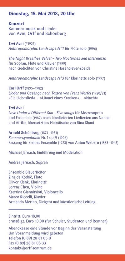 Orff-Zentrum München; Carl Orff; OZM; OZM Flyer 2/2018, Seite 3