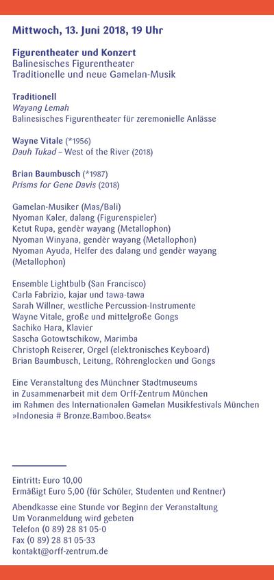 Orff-Zentrum München; Carl Orff; OZM; OZM Flyer 2/2018, Seite 4