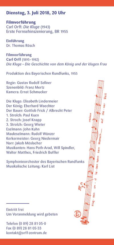 Orff-Zentrum München; Carl Orff; OZM; OZM Flyer 2/2018, Seite 5