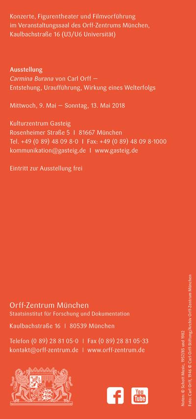 Orff-Zentrum München; Carl Orff; OZM;OZM Flyer 2/2018, Seite 6