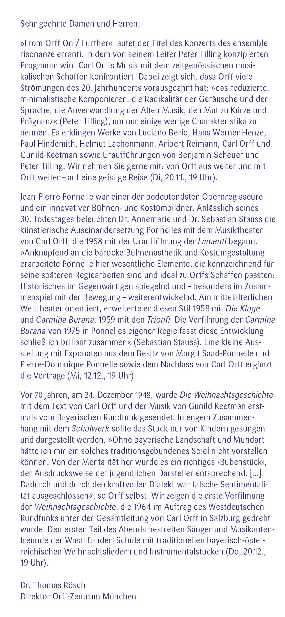 Orff-Zentrum München, Veranstaltungsflyer Nov.-Dez. 2018, Seite 2