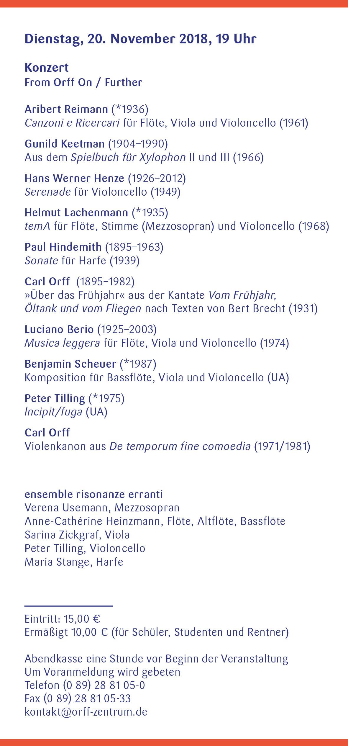 Orff-Zentrum München, Veranstaltungsflyer Nov.-Dez. 2018, Seite 3
