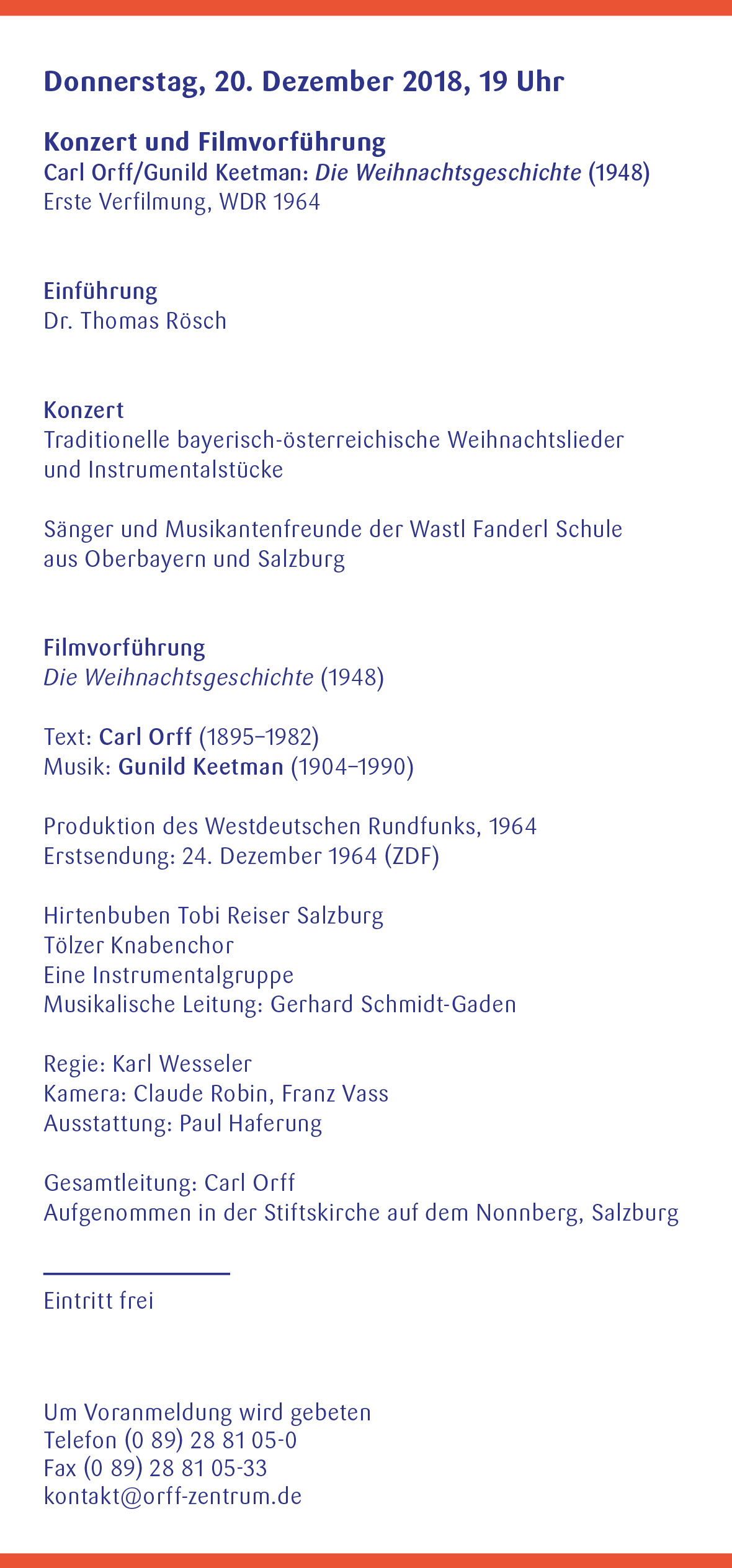 Orff-Zentrum München, Veranstaltungsflyer Nov.-Dez. 2018, Seite 5
