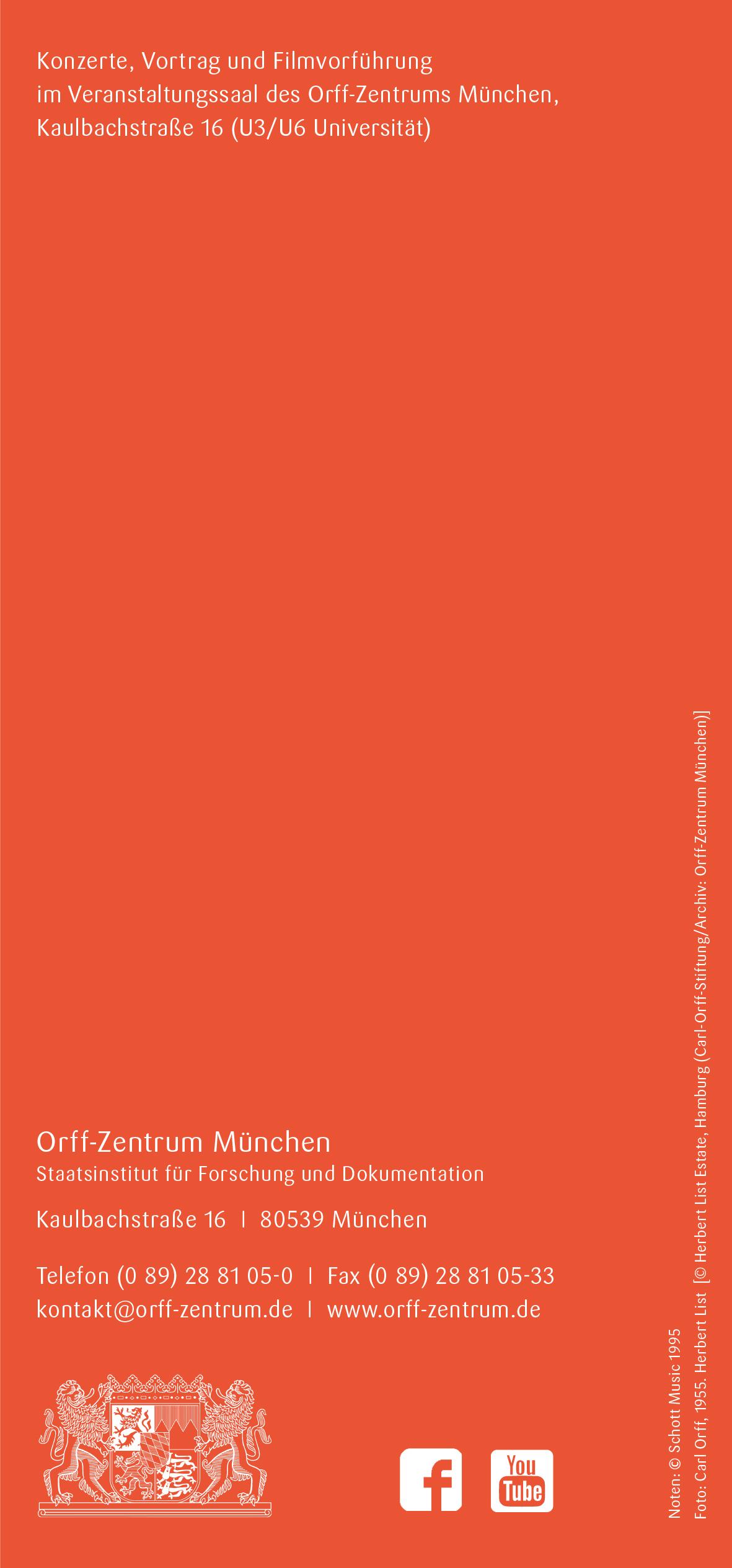 Orff-Zentrum München, Veranstaltungsflyer Nov.-Dez. 2018, Rückseite