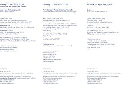 Orff-Zentrum München; Carl Orff; OZM; Veranstaltungsflyer, 1/2016, Orff-Zentrum München, Seite 2