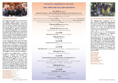 Sonderflyer 2015: Orff und die alten Meister, Orff-Zentrum München, Seite 1