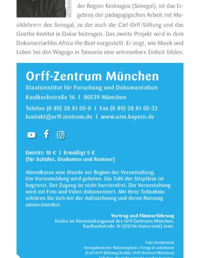 Afrika the Beat, Flyer, Orff-Zentrum München