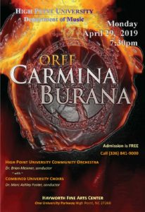 Carl Orff Carmina Burana USA High Point, NC 2019